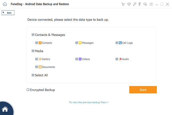 Wybierz Dane do kopii zapasowej