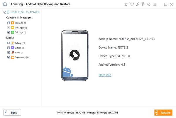 Wybierz pliki do przywrócenia do Androida