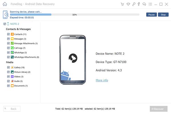 Skanowanie usuniętych dzienników połączeń na urządzeniu z Androidem