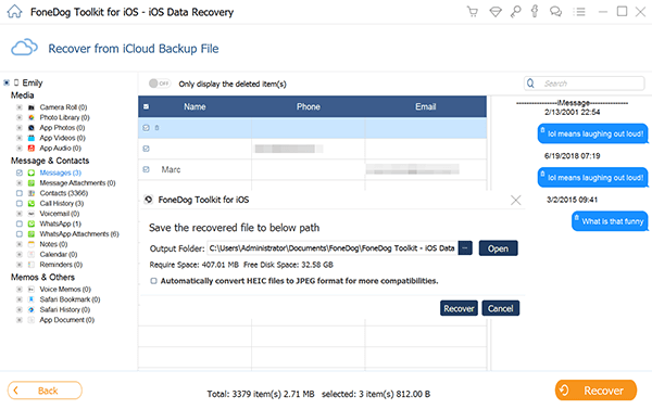 Preview and Recover Deleted Text Messages from iCloud