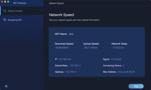 zakończenie testu prędkości sieci Wi-Fi