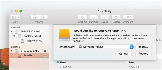 Sprawdź dostępne miejsce na dysku Mac Disk Utility